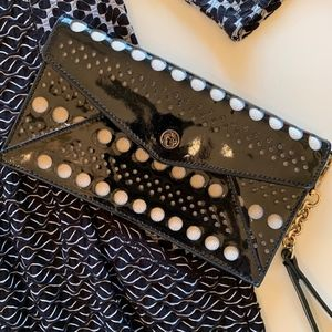 Spartina Black Patent Leather Clutch Wristlet